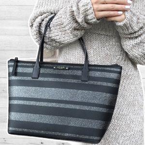 Kate Spade ♠️ Hani Haven Lane Black Glitter Stripe